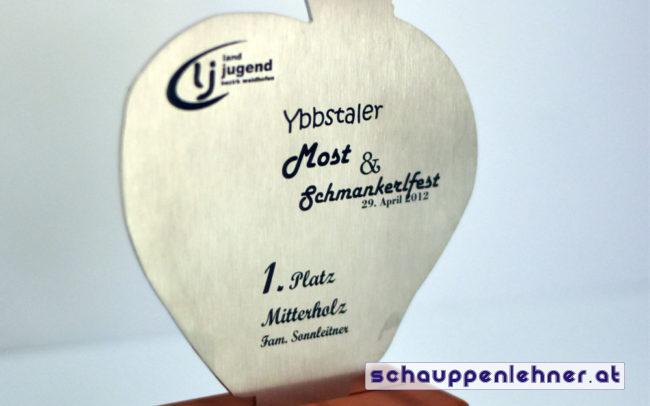 Auszeichnung erster Platz beim Ybbstaler Most und Schmankerlfest