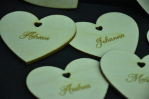 Tischkärtchen Holz Hochzeit